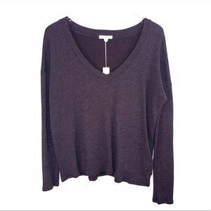 James Perse V-Neck Pullover Sweatshirt Top Purple